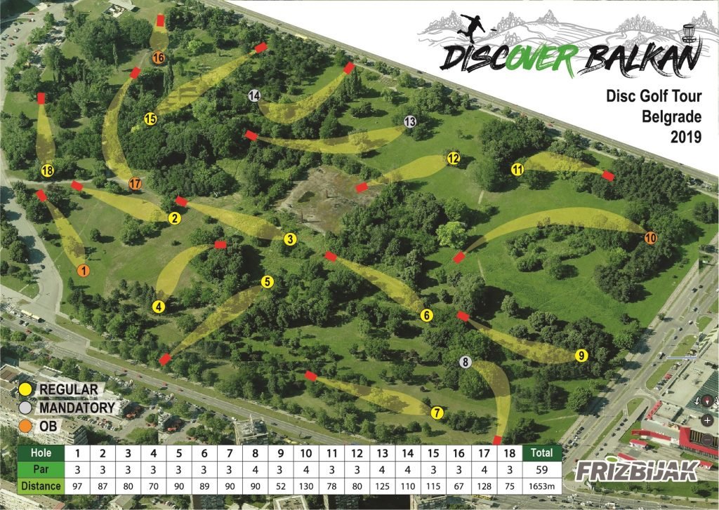 DiscOver Balkan - Belgrade map of disc golf course